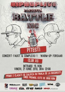 HIPHOPLIVE: BATTLE MC in Pitesti (Club XS), PRESELECTIE 21.06.2013